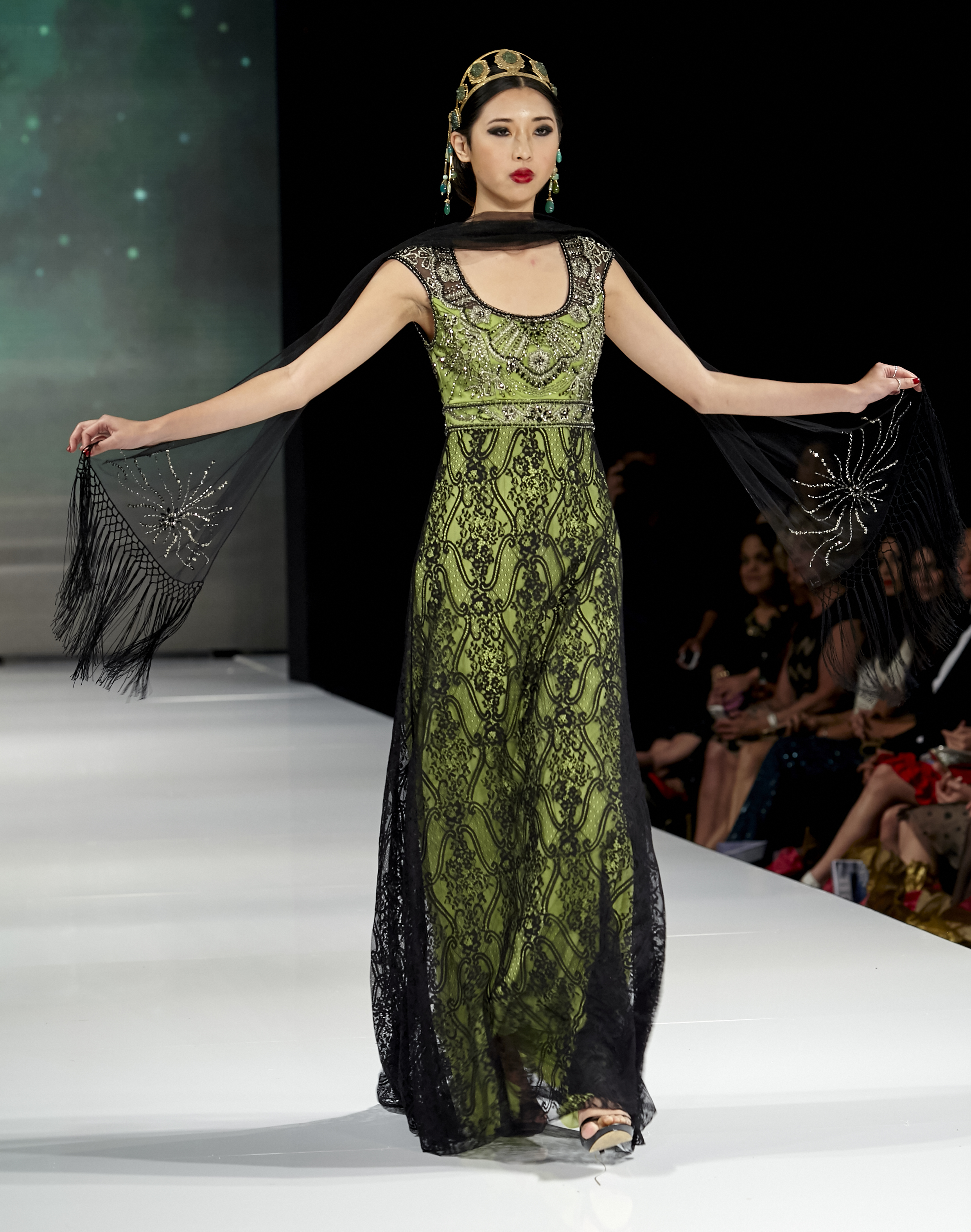 La fashion week opens with sue wong fall 2015 full length gown with beaded bodice headdress studio art metal freerunsca Images